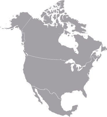 Map outline of North America
